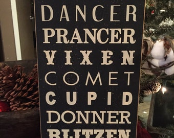 Reindeer wood sign, Christmas decoration, reindeer names sign, Rudolph sign, Christmas 9 x 18 wood sign, holiday decorations