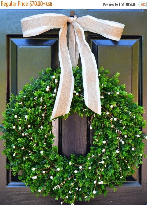 SPRING WREATH SALE Boxwood Berry Wreath- Cream Berry Wreath, Year Round Wreaths, Wedding Decoration, Spring Wreath, Summer Wreath, Door Wrea