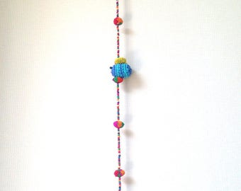 "Amigurumi, knit doll, bee, pom pom garland, garland, party, wedding, flower, colorful, cute, rainbow, mobile, bell, decoration, 44""-46"""