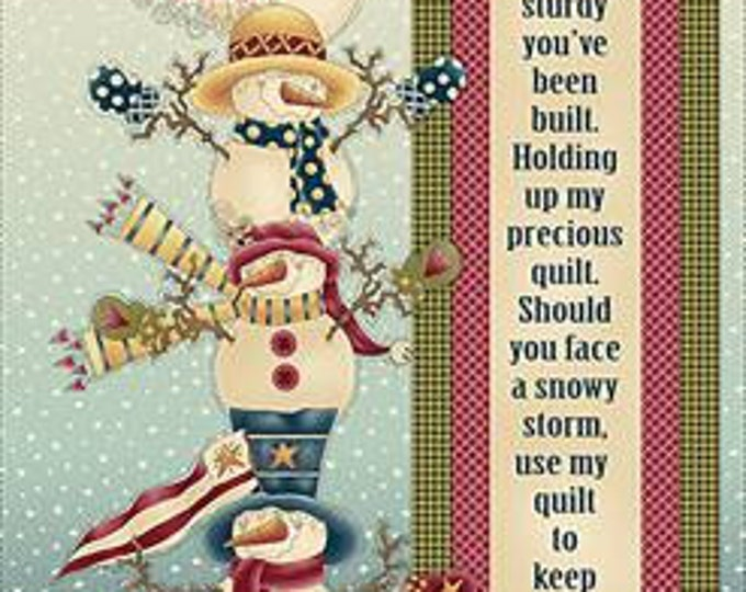 Children's Fabric, Holiday Fabric, My Precious Quilt Snowman Banner 24 In. Panel by Leanne Anderson