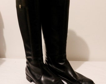 Vintage 1980s  vegan black zippered long boots by Pertti Palmroth made in Finland size 10