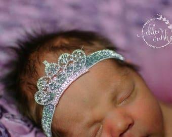 Newborn crown headband, tiara headband on silver glitter elastic, newborn tiara, newborn princess, baby crown, headband, new baby girl