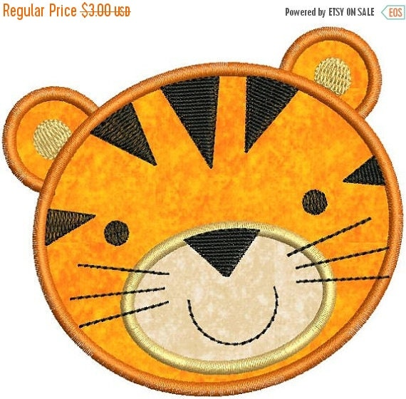 SALE 65% Off Zoo Baby Tiger Face Applique by ...