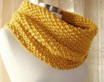 Mustard Yellow  Circular Hand Knit Big Cowl - For him her gift - Unisex - Outerwear