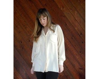 25% off Flash Sale . . . Cream Silk Button Down Shirt Blouse - Vintage - MEDIUM