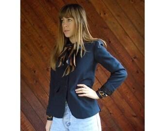 25% off Flash Sale . . . Navy Blue Woven Blazer Jacket - Vintage 80s - XS/S