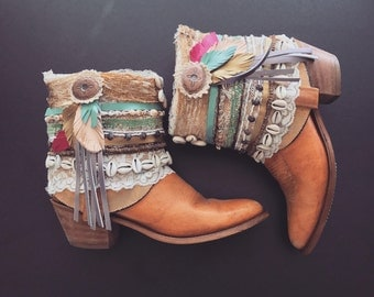 Decorated Cowboy Boots Embellished Short Booties Summer Festival Boho Ankle Boots ALL SIZES