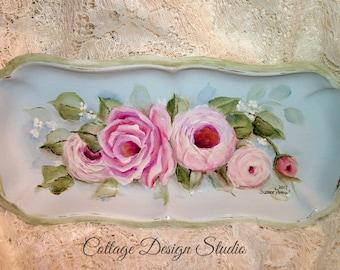shabby pink roses tray, vanity tray, jewelry holder, trinket dish, home decor, cottage decor, pink cottage roses, farmhouse decor, french.
