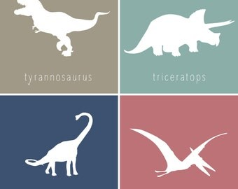 Printable Dinosaur Wall Art for Kids Room or Nursery, Set of 4 Prints