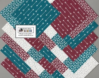 "40~4"" Burgundy & Teal Arrows and Geometric Fabric Squares/Quilt/Craft/Sewing/Charm Packs #0907"