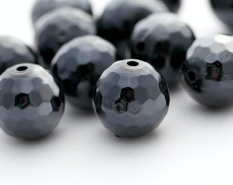 Black Acrylic Faceted Round Glossy Ball Beads AB 16mm (12)