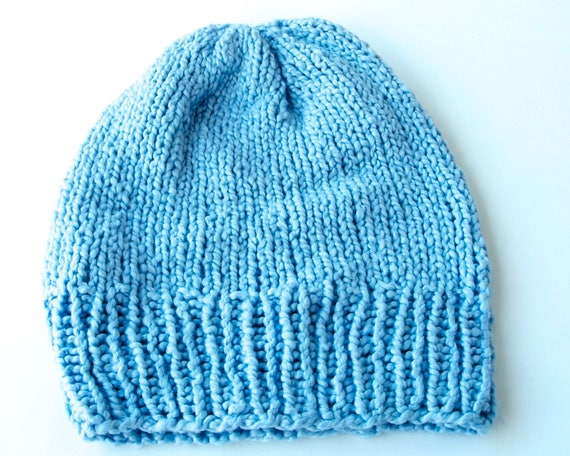 Blue Hat Hand Knit Slouchy Beanie Gift For Her Spring Fashion Spring Accessories Women's Gift