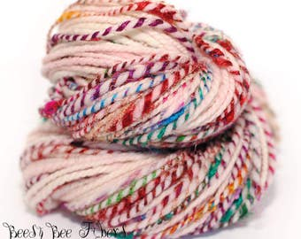 RED DAISIES - 2 Ply Hand Spun Art Yarn, Weaving, Knitting, Crochet, Accent, Saori, Doll Hair, Tapestry, Soft Rambouillet - 140 yards approx