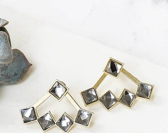 Stones Ear Jackets, Earrings Set, Crystal Earrings, Evening Jewelry, Stud Earrings, Post Earrings, 2 Way Wear, Black Crystal Earrings