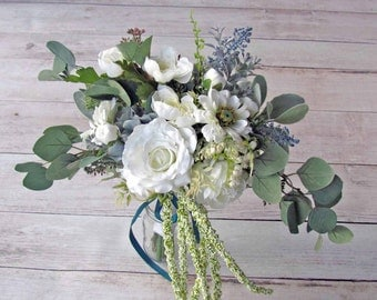 White & Blue Spring Wedding Bouquet, Ready to Ship