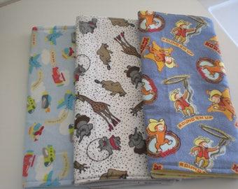 FREE SHIPPING Set of 3 baby boy burp cloths