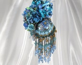 Peacock Blues Beaded Victorian Ornament with 195 Swarvoski Crystals