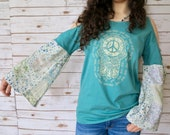 Hamsa Patchwork Floral Open Shoulder Cut Out shoulder Print Boho Bell Sleeve Tee Top Festival Bell Sleeves Hippie Size Small Medium Large