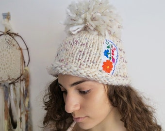 White Shimmer Big Pom Pom Floral Meixcan Embroidered Applique Wool Knit  Hat Beanie Boho Hippie OOAK Embroidery Handknit