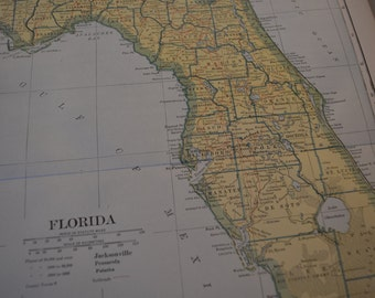 1912 State Map Florida - Vintage Antique Map Great for Framing 100 Years Old