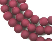 6mm Matte Frosted Neon Rubberized Glass Round Beads -  Maroon / Amaranth 16 inches (e7855)