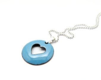 Blue Heart Necklace - Aqua Blue Heart Charm Necklace - Lightweight Enamel Pendant - Gift for her