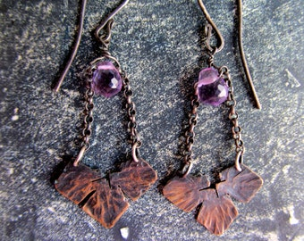 Rustic statement copper earrings, long dangle copper earrings, oxidized copper, amethyst and sterling silver