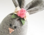 Gray Easter Bunny Rabbit with Flower Crown or Carrot Bouquet Easter Basket Filler Fabric Rabbit Softie Spring Decoration Easter Decor 872