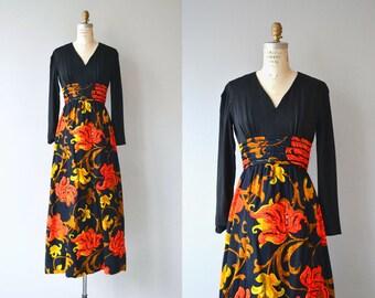 Trapunto Blooms hostess dress | vintage 1970s maxi dress | floral print 70s dress
