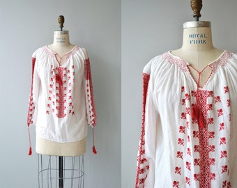 Romanian folk blouse | antique 1920s folk blouse | gauze 20s embroidered tunic