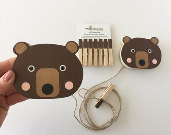 Bear Art Display Line, Bear Nursery, Brown Bear Baby, Animal Nursery,  Woodland Toddler, Woodland Nursery, Forest Nursery, Forest Toddler