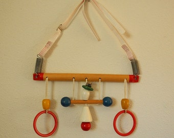 Vintage Cradle Gym, toy collectible, wooden, nursery decor, baby play set, 1960s.