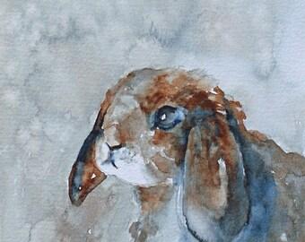 Easter decor Bunny art PRINT bunny print easter LARGE 11x14 easter Bunny painting blue brown modern minimalist artwork Baby Nursery art wall