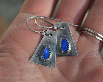 Blue Morpho Blue Australian Opal Earrings Sterling Silver