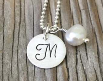 Gift for her initial jewelry Bridesmaids gift handmade personalized necklace hand stamped pendant teen jewelry tag sterling silver