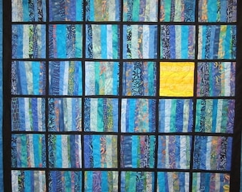 Blue Art Quilt Squares Wall Hanging