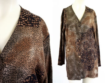 Vintage Hot Stuff Animal Print Tan and Black Long Sleeve Flowy Button Front Woman's Retro Blouse