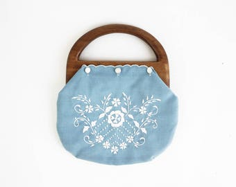 Pale Blue with White Embroidery Design Wooden Handle 70's Retro Clutch Purse