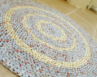 Round crochet rag rug, mat, bath mat, blue with multi, eco, repurpose, reuse, cottage, country, farmhouse, shabby, 35 inches.
