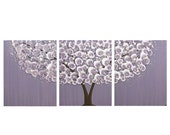 ON SALE Purple Wall Art Tree Painting on Canvas Triptych for Baby Girl Nursery - Large 50x20