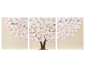 Canvas Wall Art - Pink Nursery Girl Tree Paintings Triptych Textured - Large 50x20