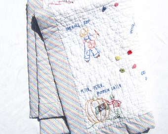 Vintage Doll Quilt Vintage Hand Embroidered Doll Quilt Nursery Rhymes Doll Quilt Vintage Baby Quilt Antique Baby Quilt Vintage Doll Blanket