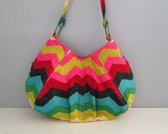 Small Shoulder Bag, Small Chevron Purse, Chevron Shoulder Bag, Pleated Purse, Fabric Shoulder Bag