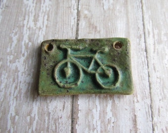 Oval or Rectangular Bicycle Pendants, Bicycle, Cycling, Bike Pendant, ClassicBead, Handcrafted Stoneware tracee, The Classic Bead