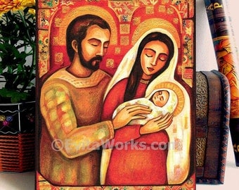 Holy Family Christian Religious Folk Art Icon Mary and Joseph Baby Jesus Icon Painting, home decor wall decor woman art, ACEO wood block, CH