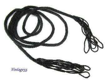 Black Beaded Necklace Flapper Lariat 58 inch