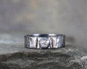 Raw Diamond Ring - Black Sterling Silver and White Gold