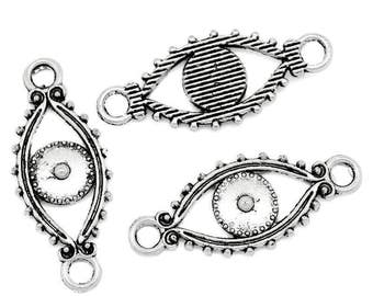 Antique Silver Eye Connector/Charm - Set of 12 - #HK1343