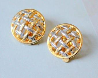 Basketweave Earrings Gold tone Vintage Clip On