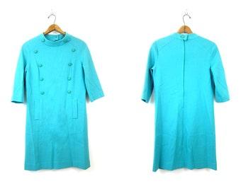 60s Mod WOOL Dress Vintage retro Button Front High Collar Dress 1960s Butte Knit Zipper Go Go Dress Womens Medium Large